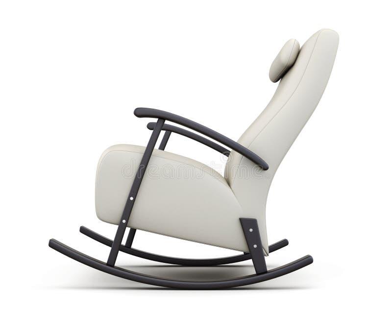 Cadeira de balanço isolada no fundo branco Vista lateral 3d rendem ilustração stock
