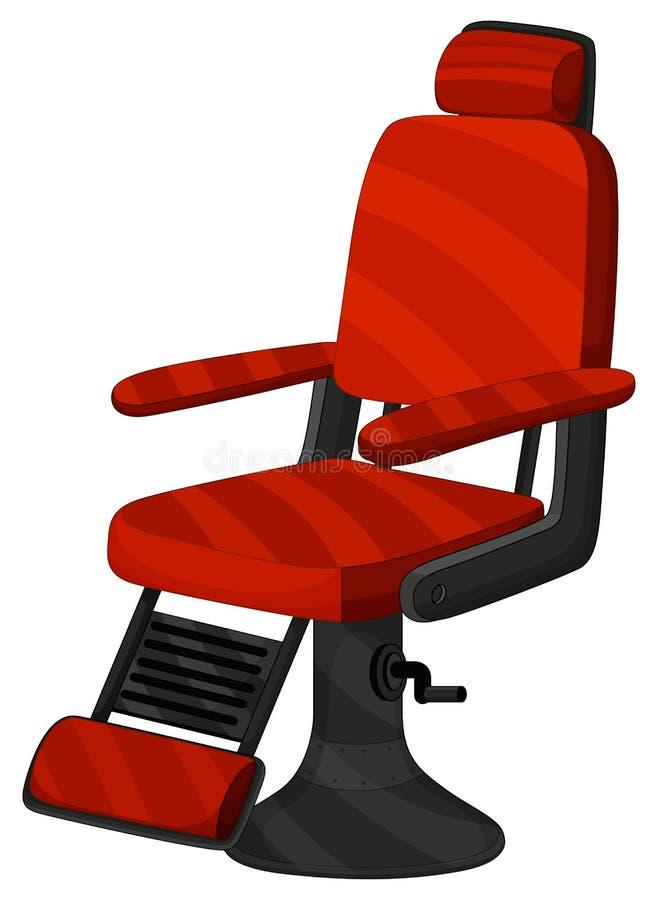 Cadeira de barbeiro na cor vermelha ilustração stock
