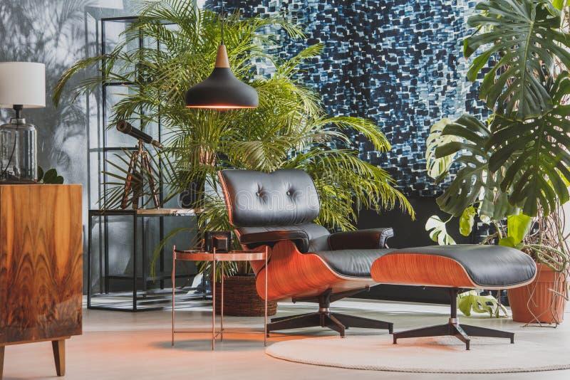 Cadeira de couro na sala elegante fotografia de stock royalty free