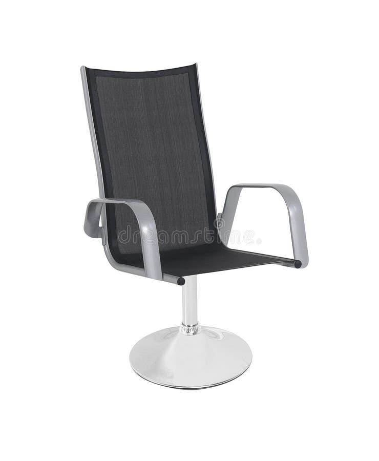 Cadeira de couro preta do escritório isolada no branco imagem de stock