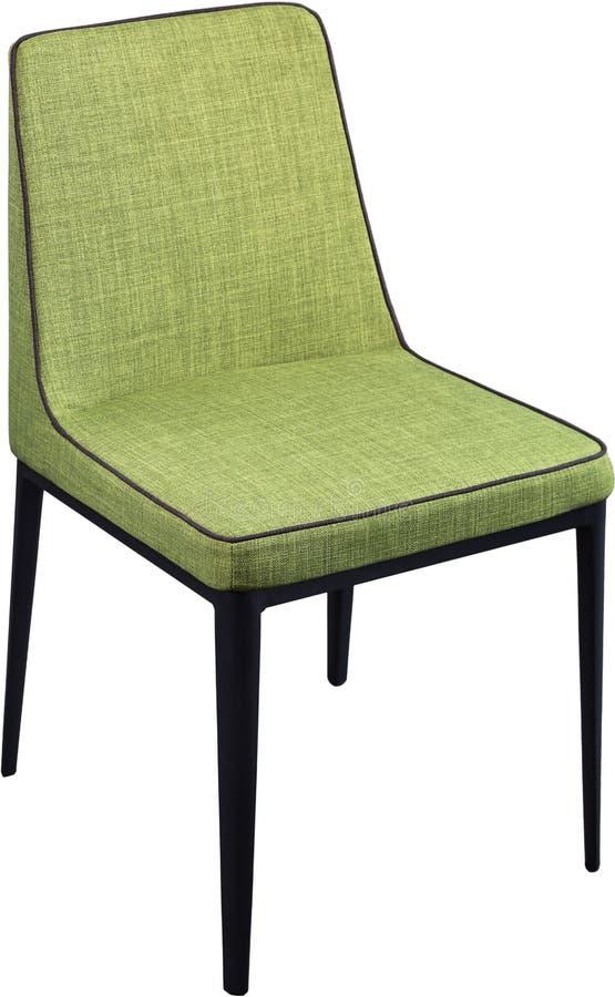 Cadeira de jantar verde do desenhista nos pés pretos do metal Cadeira macia moderna isolada no fundo branco imagens de stock