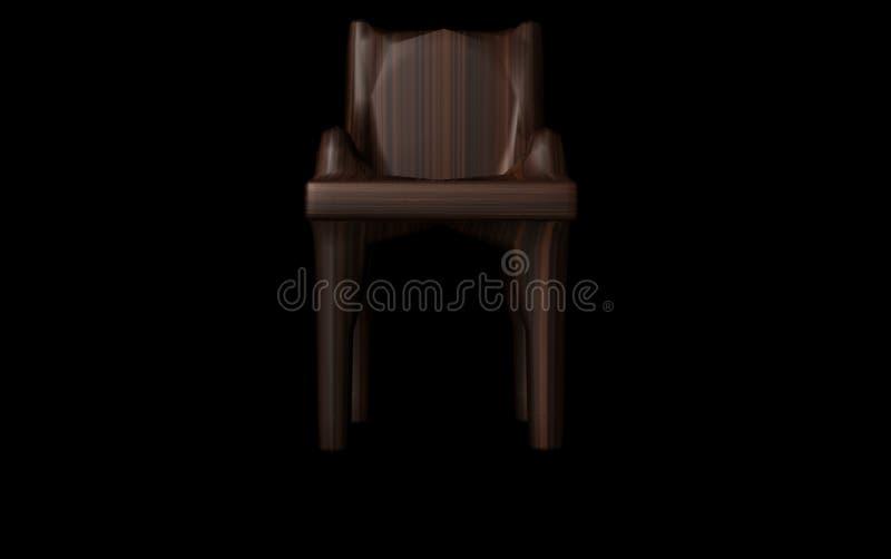 A cadeira de madeira 3d rende ilustração royalty free