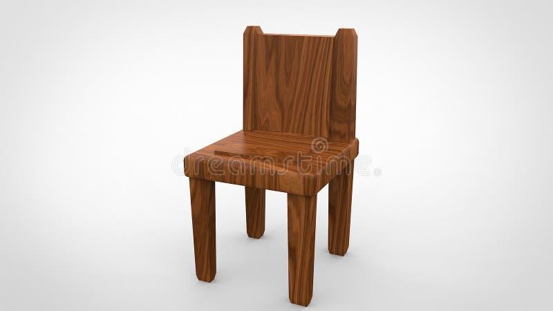 A cadeira de madeira 3d rende ilustração stock