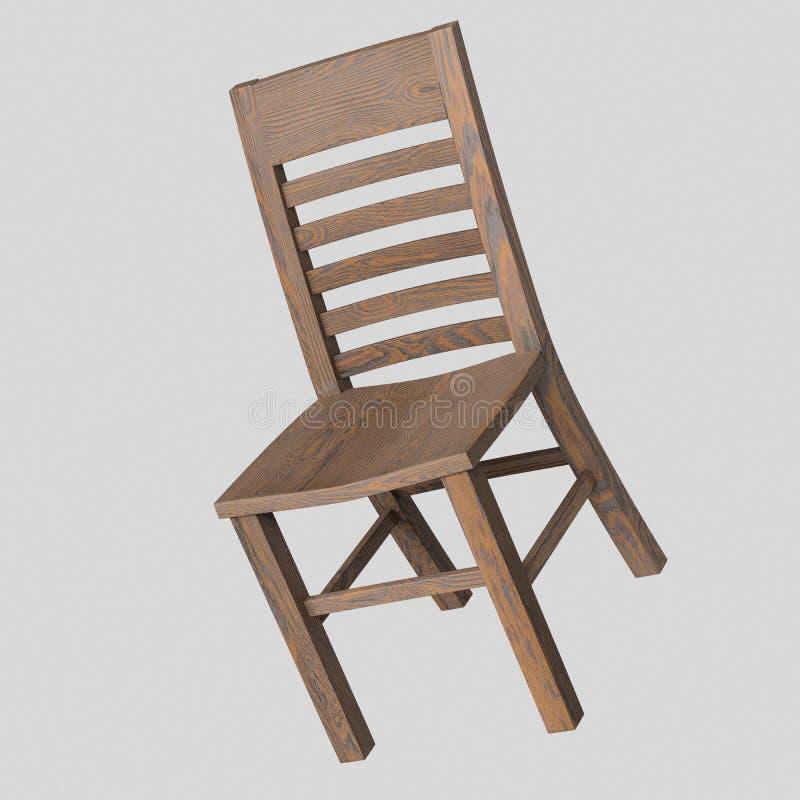 Cadeira de madeira escura de flutuação isolada em um fundo branco ilustração do vetor