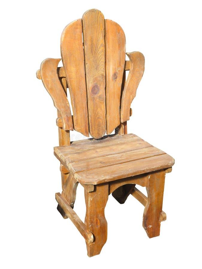 Cadeira de madeira feito à mão antiga isolada sobre o branco imagens de stock royalty free