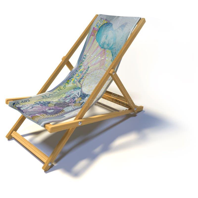 Cadeira de plataforma de dobramento com cinco libras inglesas ilustração do vetor