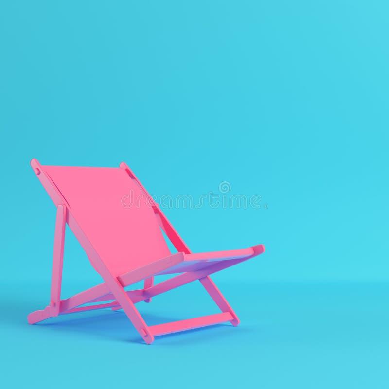 Cadeira de praia cor-de-rosa no fundo azul brilhante nas cores pastel ilustração stock