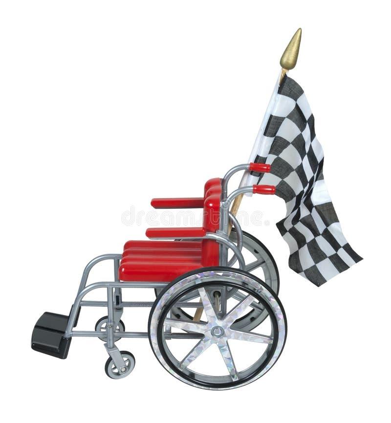 Cadeira de rodas com bandeira Checkered fotografia de stock royalty free
