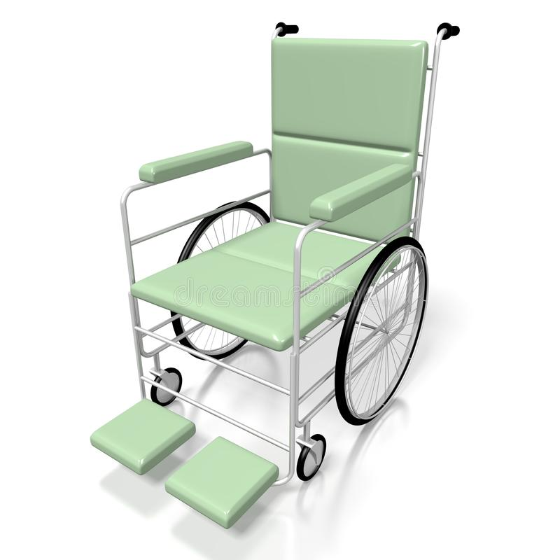 cadeira de rodas 3D no fundo branco ilustração do vetor