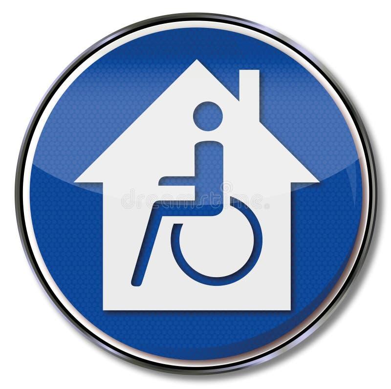 Cadeira de rodas e casa acessível deficiente ilustração stock