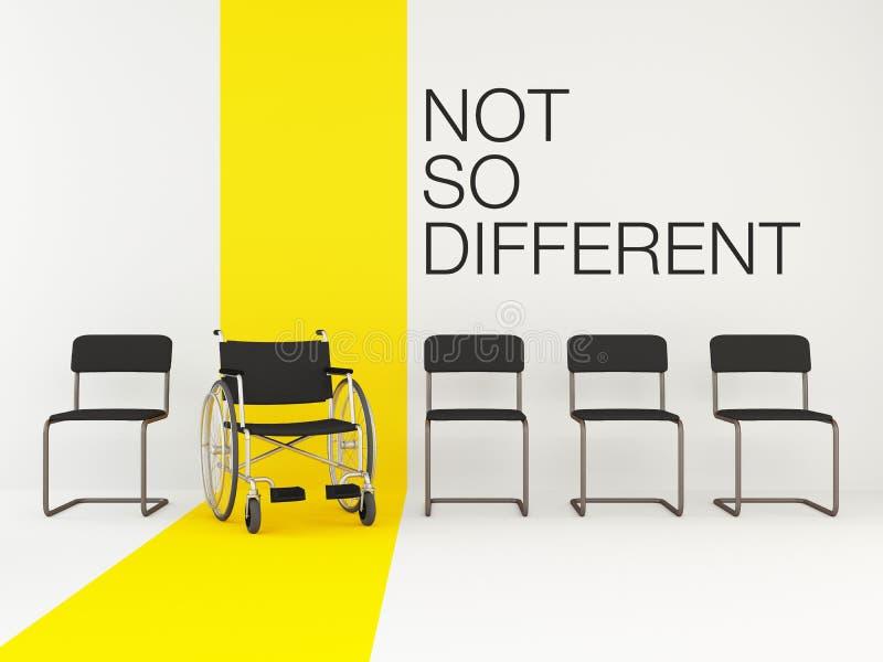 Cadeira de rodas entre cadeiras do escritório Conceito da igualdade Vaga para uma pessoa deficiente Com as palavras 'não tão dife ilustração do vetor