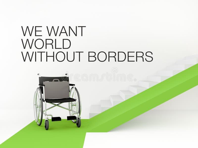 Cadeira de rodas na frente das escadas com rampa O conceito de um ambiente acessível Vaga para uma pessoa deficiente ilustração do vetor