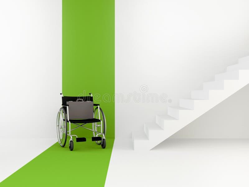 Cadeira de rodas na frente das escadas O conceito de um ambiente acessível Vaga para uma pessoa deficiente ilustração stock