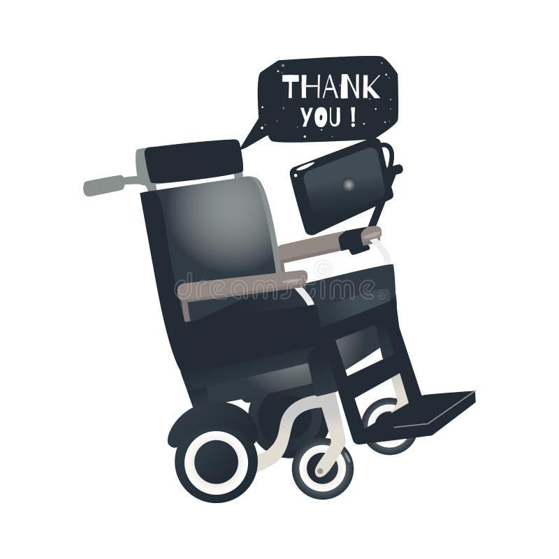 Cadeira de rodas de Stephen Hawking dos desenhos animados do vetor ilustração stock