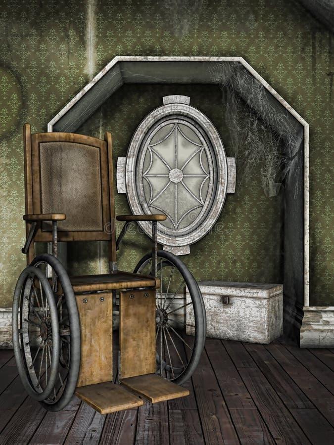 Cadeira de rodas velha em uma sala empoeirada ilustração royalty free