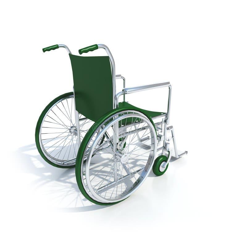 Cadeira de rodas verde ilustração do vetor