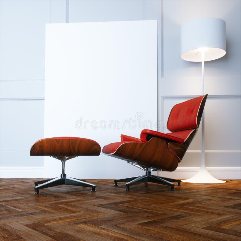 Cadeira de sala de estar vermelha no interior branco novo com o assoalho de parquet de madeira ilustração royalty free