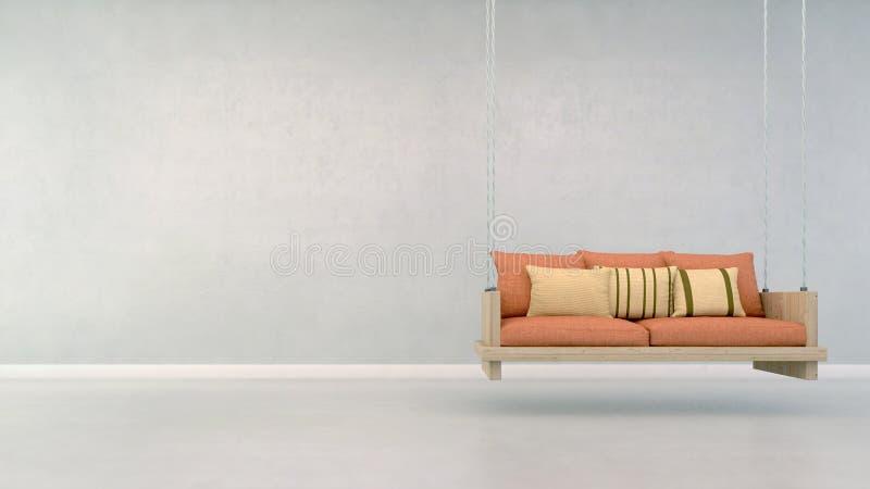 Cadeira de suspensão na sala branca ilustração stock
