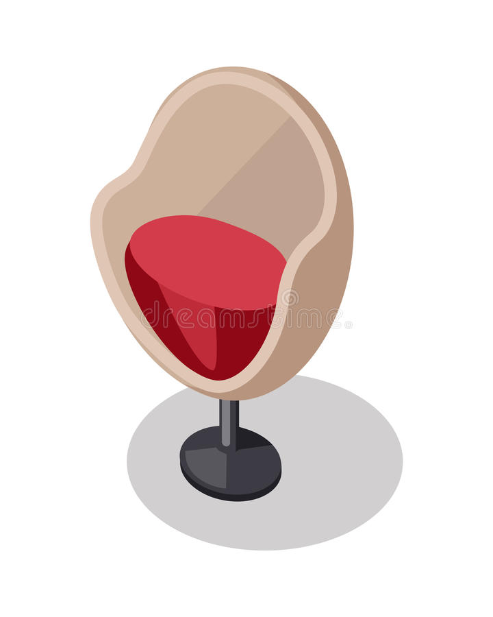 Cadeira do braço no ícone retro do estilo Parte de mobília ilustração stock