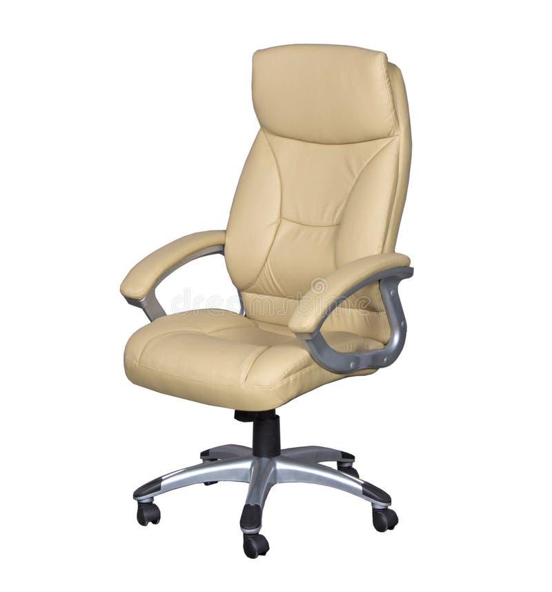 Cadeira do escritório do couro branco foto de stock royalty free