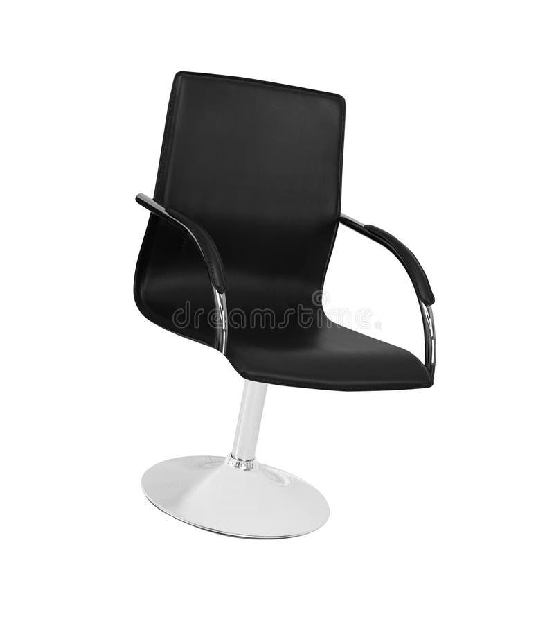 A cadeira do escritório do couro preto isolado foto de stock royalty free
