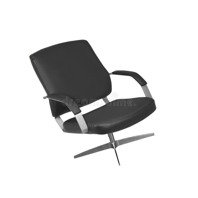 A cadeira do escritório do couro preto isolado fotos de stock royalty free
