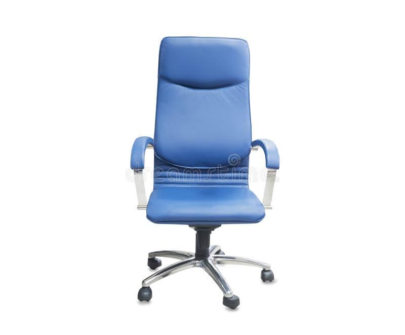 Cadeira do escrit?rio do couro azul Isolado sobre o branco imagem de stock royalty free