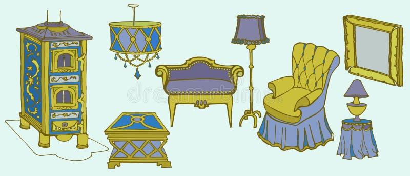 Cadeira do fogão do colo da mobília ilustração do vetor