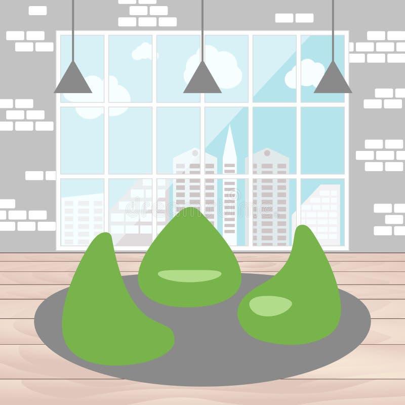 Cadeira do saco de feijão com opinião da cidade da janela ilustração royalty free