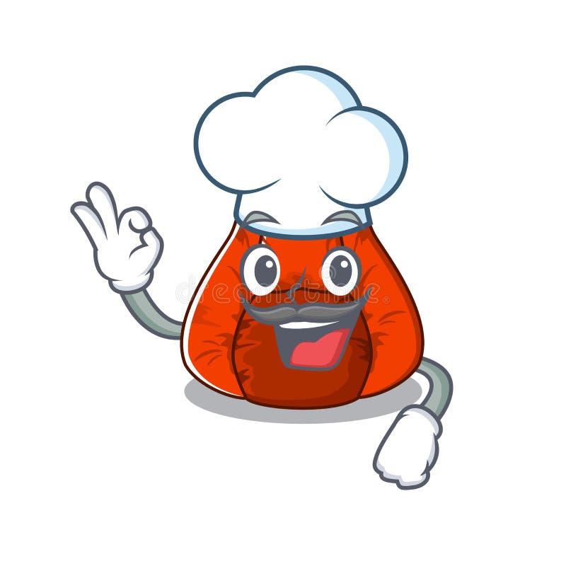 Cadeira do saco de feijão do cozinheiro chefe em um caráter ilustração royalty free