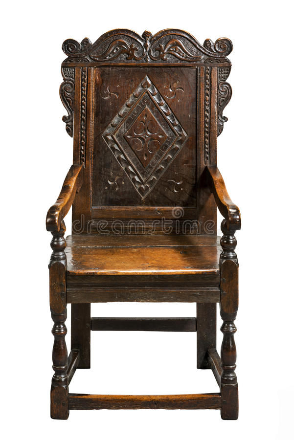 A cadeira do Wainscot, século XVII da segunda metade cinzelou o carvalho imagem de stock