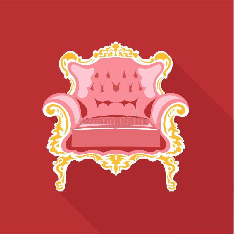 Cadeira dourada e cor-de-rosa do vetor de Digitas do vintage ilustração royalty free