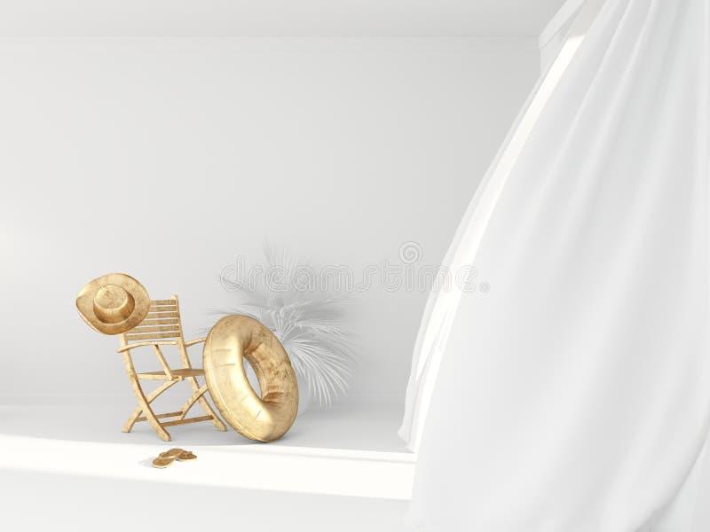 A cadeira dourada vazia, o círculo inflável, o chapéu e os falhanços de aleta na sala branca brilhante com as cortinas leves nos  ilustração royalty free