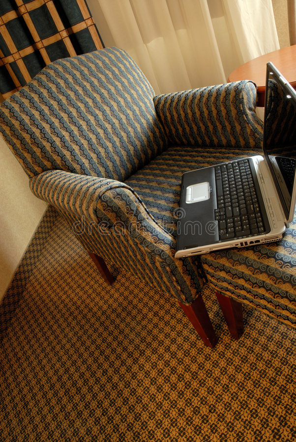 Cadeira e caderno foto de stock