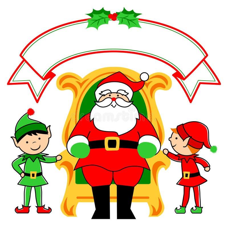 Cadeira e duendes de Santa ilustração stock