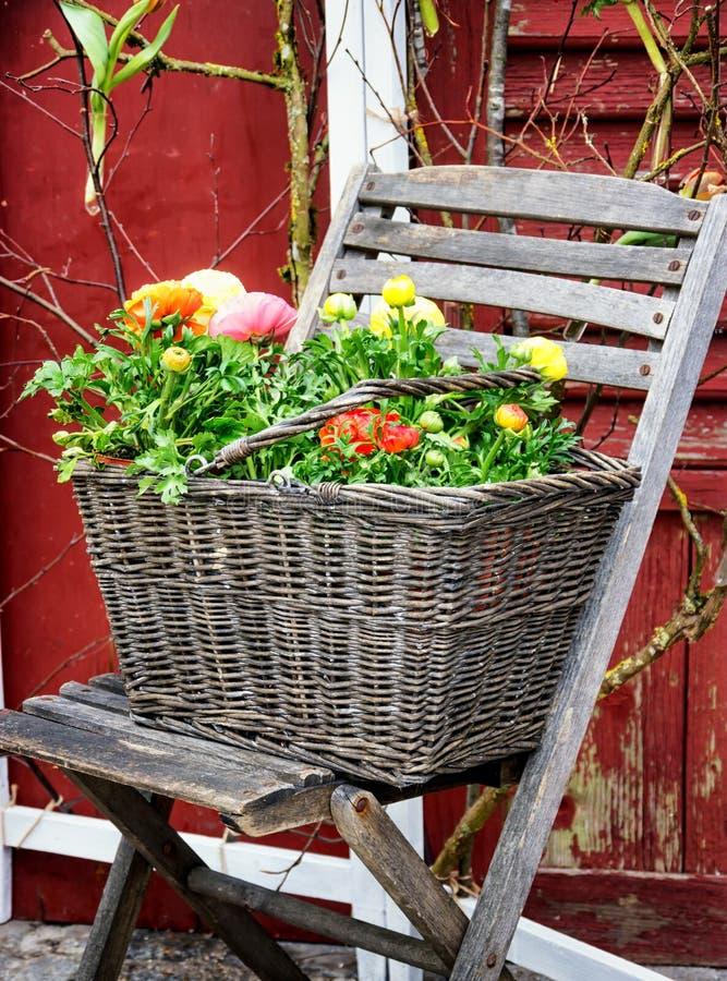 Cadeira e flores velhas foto de stock royalty free
