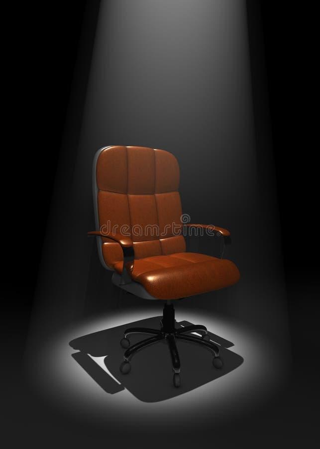 Cadeira executiva na fase no feixe luminoso, ilustração 3D ilustração royalty free