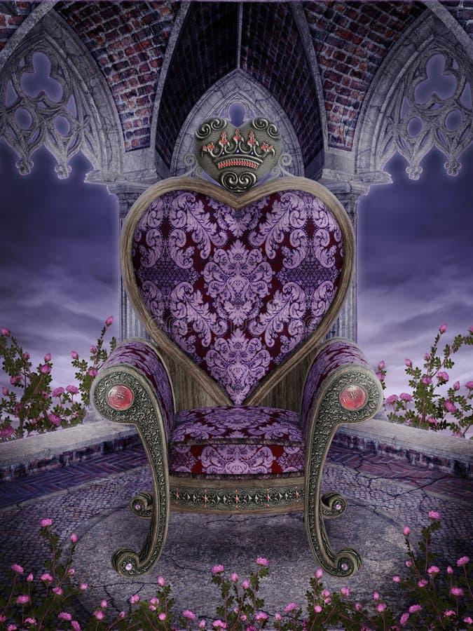 Cadeira gótico do coração ilustração royalty free