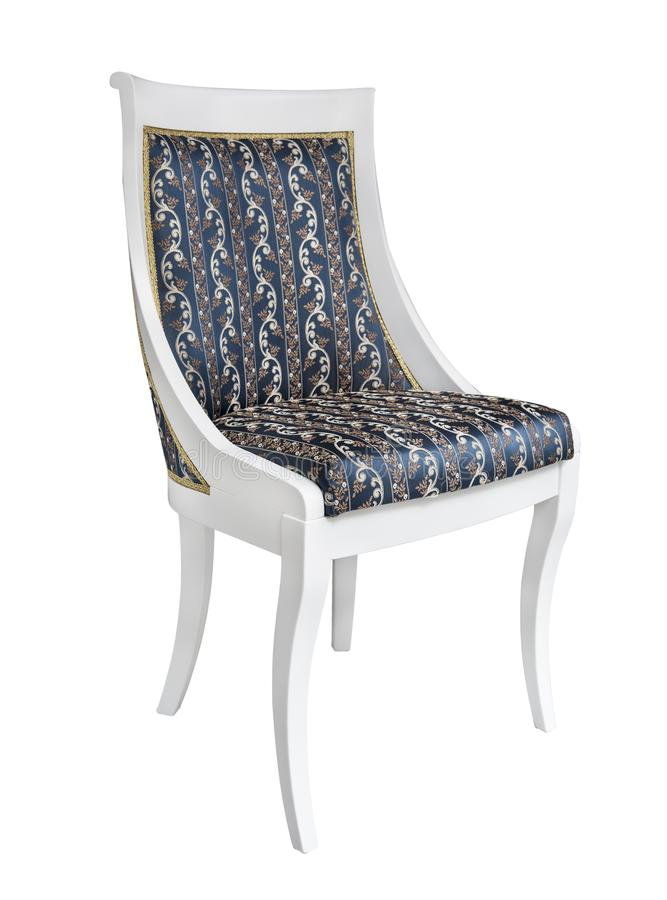 Cadeira lindo do vintage com estofamento dos pés brancos, do azul e do ouro Isolado no fundo branco Estilo retro Mob?lia do vinta fotografia de stock