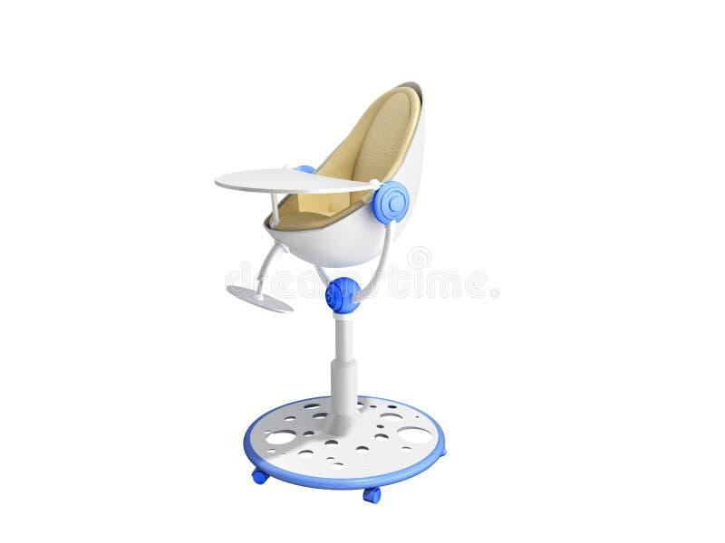 a cadeira moderna do bebê para alimentar 3d rende a imagem para não anunciar no branco nenhuma sombra ilustração royalty free