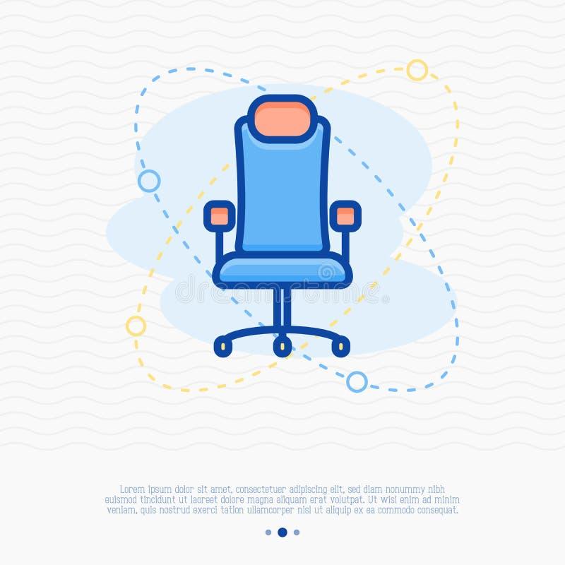 Cadeira para a linha fina ícone do gamer ilustração stock