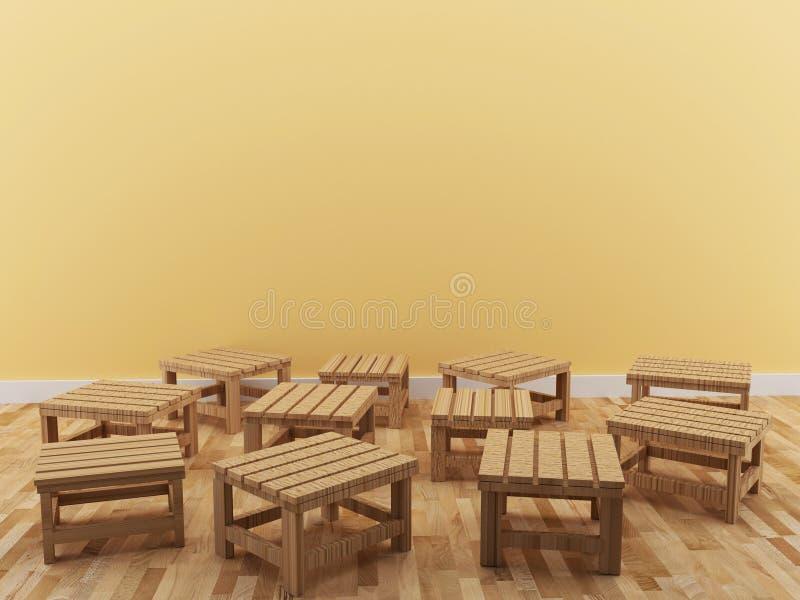 A cadeira pequena interior no projeto da sala em 3D rende a imagem ilustração royalty free