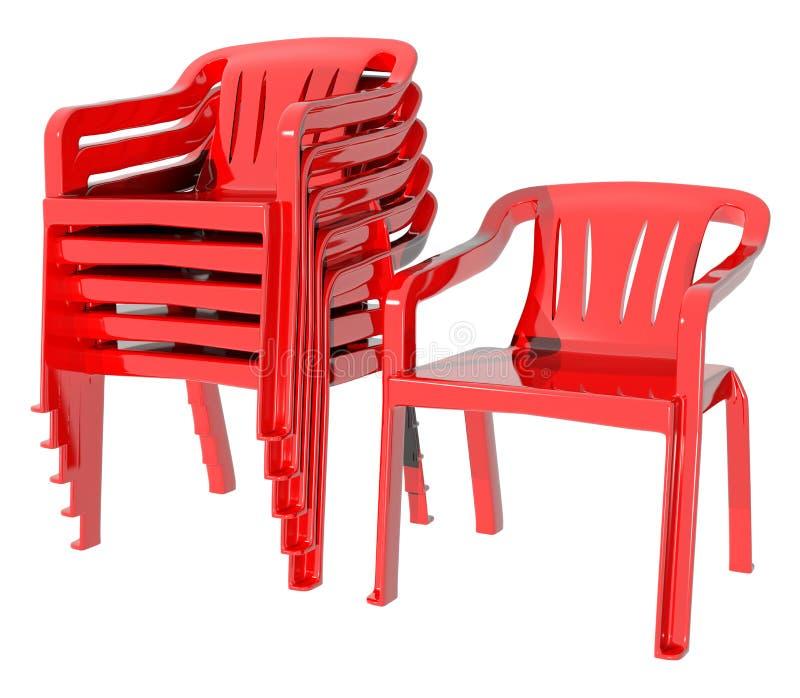 Cadeira plástica da cor vermelha muitos fotografia de stock