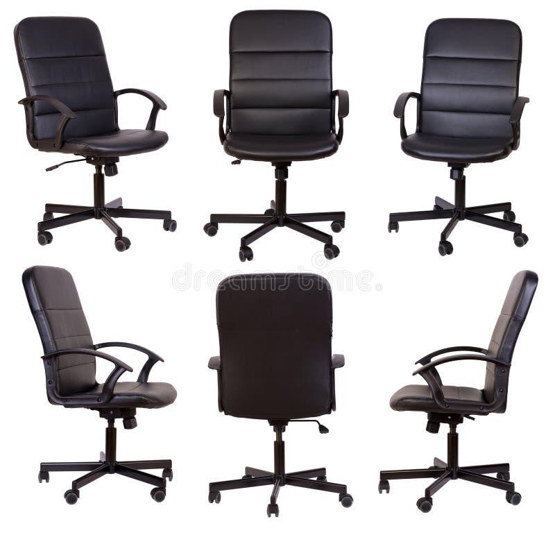 Cadeira preta do escritório isolada no branco imagem de stock