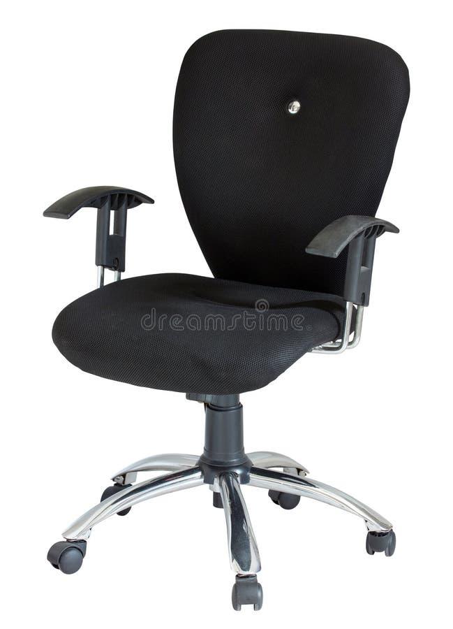 Cadeira preta do escritório isolada no branco fotos de stock royalty free