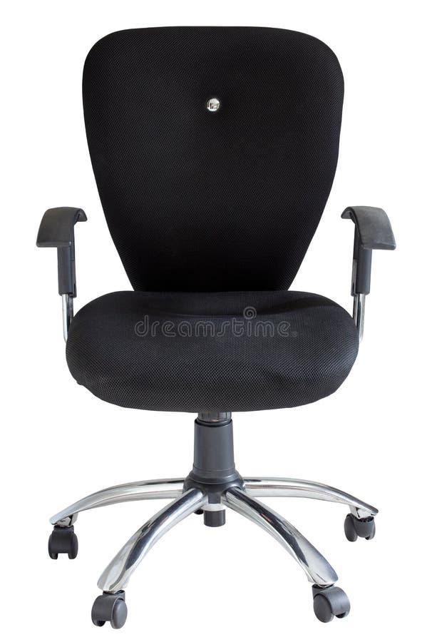 Cadeira preta do escritório isolada no branco foto de stock