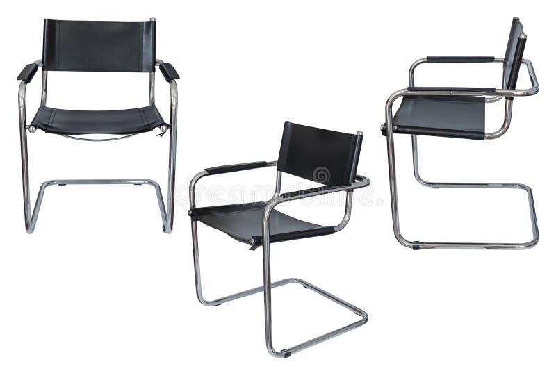 Cadeira preta do escritório isolada no fundo branco imagens de stock royalty free