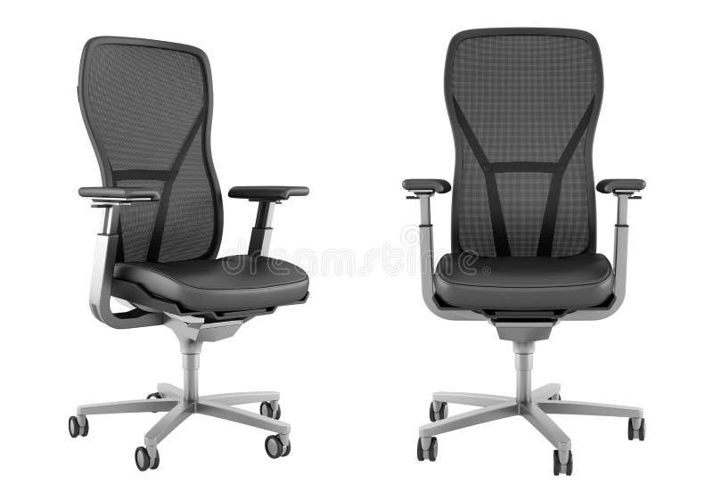 Cadeira preta moderna do escritório isolada no branco ilustração royalty free