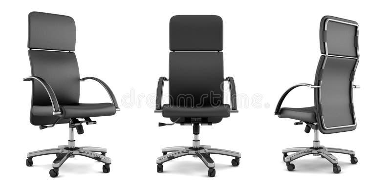 Cadeira preta moderna do escritório no branco ilustração stock