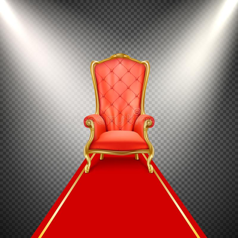 Cadeira realística do trono do vetor com tapete vermelho ilustração stock